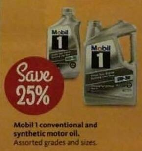 AAFES Black Friday: Mobil 1 Conventional and Synthetic Motor Oil - Save 25%