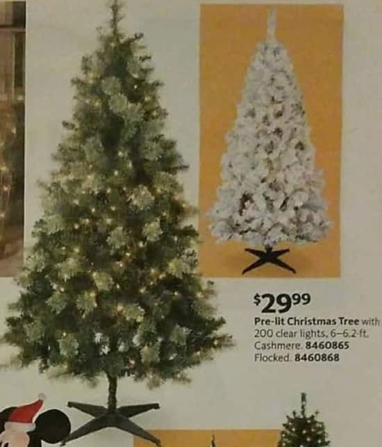 AAFES Black Friday: 6.2-ft. Pre-Lit Cashmere or Flocked Clear Lights Christmas Tree for $29.99