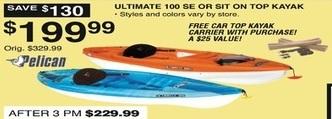 Dunhams Sports Black Friday: Pelican Ultimate 100 SE Kayak or SIT On Top Kayak + Free Car Top Kayak Carrier for $199.99
