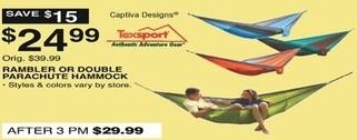 Dunhams Sports Black Friday: Texsport Rambler or Double Parachute Hammock for $24.99