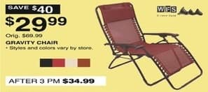 Dunhams Sports Black Friday: Gravity Chair, Assorted Styles and Colors for $29.99