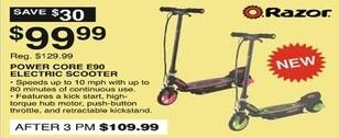 Dunhams Sports Black Friday: Razor Core E90 Electric Scooter for $99.99