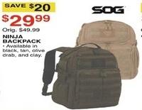 Dunhams Sports Black Friday: SOG Ninja Backpack, Assorted Colors for $29.99