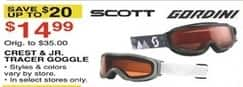 Dunhams Sports Black Friday: Scott or Gordini Crest or Jr. Tracer Goggle for $14.99