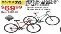 "Dunhams Sports Black Friday: Huffy Mens 26"", Ladies 26"", Boys 24"" or Girls 24"" Alpine Bikes for $69.99"