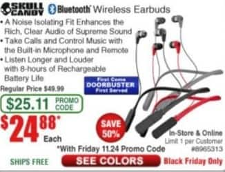 Frys Black Friday: SkullCandy Bluetooth Wireless Earbuds for $24.88