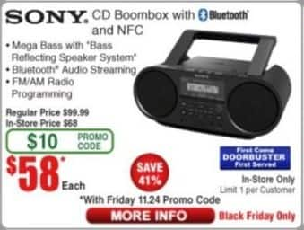 Frys Black Friday: Sony CD Boombox with Bluetooth and NFC for $58.00