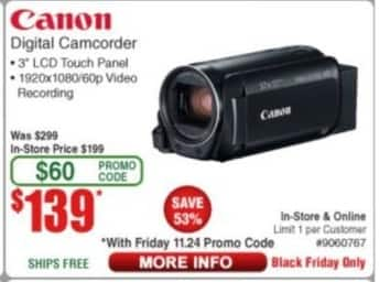 Frys Black Friday: Canon Digital Camcorder for $139.00
