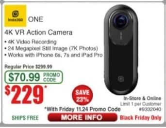 Frys Black Friday: Intel 360 One 4K VR Action Camera for $229.00