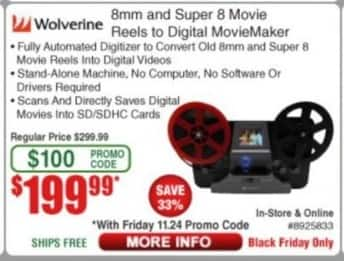 Frys Black Friday: Wolverine 8mm and Super 8 Movie Reels to Digital MovieMaker for $199.99