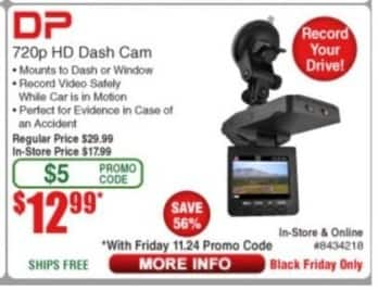 Frys Black Friday: DP 720p HD Dash Cam for $12.99