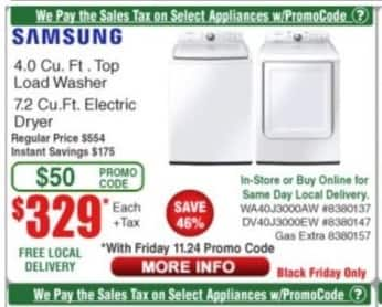 Frys Black Friday: Samsung 4.0 Cu. Ft. Top Load Washer (WA40J3000AW) for $329.00
