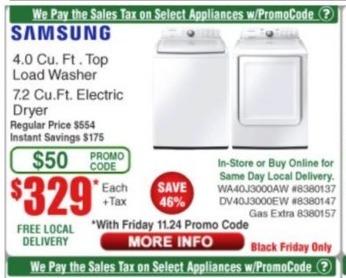 Frys Black Friday: Samsung 7.2 Cu. Ft. Electric Dryer (DV40J3000EW) for $329.00