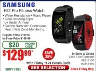 Frys Black Friday: Samsung Fit2 Pro Fitness Watch for $129.99