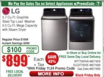 Frys Black Friday: LG 9.0 Cu.Ft. Mega Capacity with Steam Dryer for $899.00