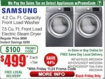 Frys Black Friday: Samsung 4.2 Cu. Ft. Capacity Front Load Washer for $499.00
