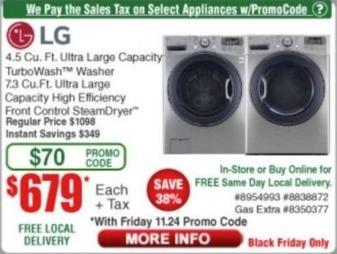 Frys Black Friday: LG 4.5 Cu. Ft. Ultra Large Capacity TurboWash Washer for $679.00
