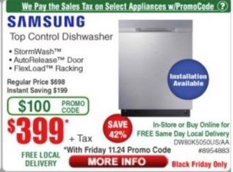 Frys Black Friday: Samsung Top Control Dishwasher for $399.00