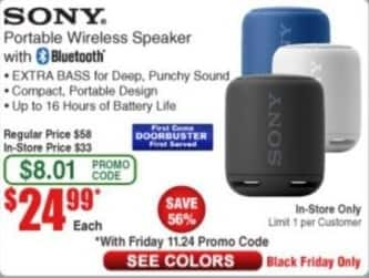 Frys Black Friday: Sony Portable Wireless Bluetooth Speaker for $24.99