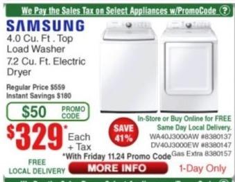Frys Black Friday: Samsung 4.0 Cu. Ft. Top Load Washer for $329.00