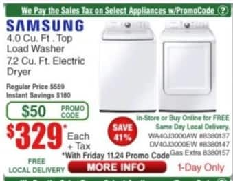 Frys Black Friday: Samsung 7.2 Cu. Ft. Electric Dryer for $329.00