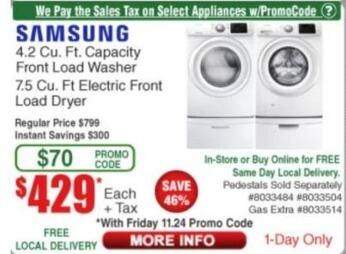 Frys Black Friday: Samsung 4.2 Cu. Ft. Capacity Front Load Washer for $429.00