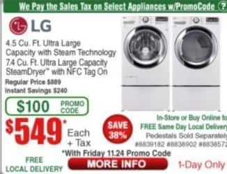 Frys Black Friday: LG 4.5 Cu. Ft. Ultra Large Capacity with Steam Technology for $549.00