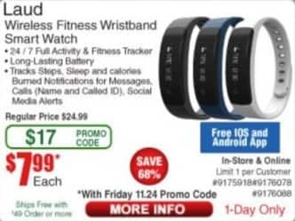 Frys Black Friday: Laud Wireless Fitness Wristband Smart Watch for $7.99