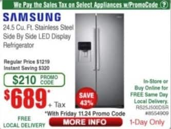 Frys Black Friday: Samsung 24.5 Cu. Ft. Stainless Steel Side by Side LED Display Refrigerator for $689.00