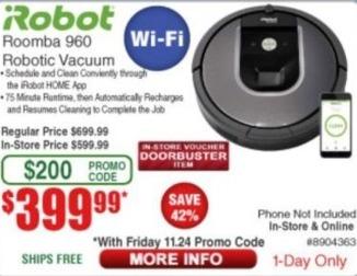 Frys Black Friday: iRobot Roomba 960 Robotic Wi-Fi Vacuum for $399.99