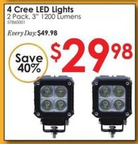 "Rural King Black Friday: Cree 3"" 4 LED Lights, 2 Pack for $29.98"