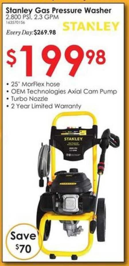 Rural King Black Friday: Stanley 2800 psi 2.3 GPM Gas Pressure Washer Powered for $199.98