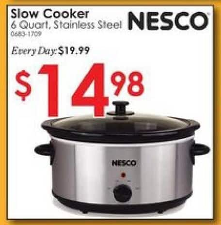 Rural King Black Friday: Nesco 6 Quart Slow Cooker, Stainless Steel for $14.98