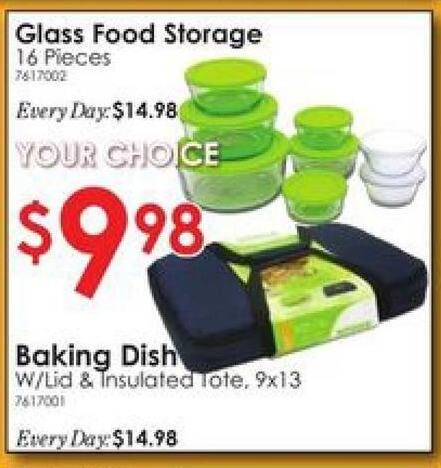 Rural King Black Friday: Glass 16pc. Round Food Storage or Baking Dish w/Lid & Insulated Tote for $9.88