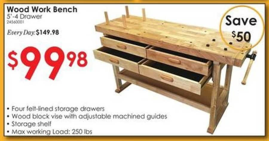 Rural King Black Friday: Wood 5' 4- Drawer Workbench for $99.98