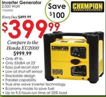 Rural King Black Friday Champion Inverter Generator 2 000 Watts