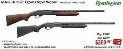 Sportsman's Warehouse Black Friday: Remington 870 Express Super Magnum Pump or Synthetic Shotgun for $269.99 after $60.00 rebate