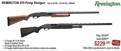 Sportsman's Warehouse Black Friday: Remington 870 20-ga. Pump Shotgun for $229.99 after $60.00 rebate