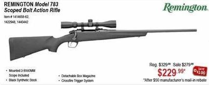 Sportsman's Warehouse Black Friday: Remington Model 783 Scoped Bolt Action Rifle for $229.99 after $50 rebate