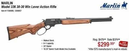 Sportsman's Warehouse Black Friday: Marlin Model 336 30-30 Win Lever Action Rifle for $299.99 after $75 rebate