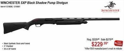 Sportsman's Warehouse Black Friday: Winchester SXP Black Shadow Pump Shotgun for $229.99 after $50 rebate