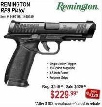 Sportsman's Warehouse Black Friday: Remington RP9 Pistol for $229.99 after $100 rebate