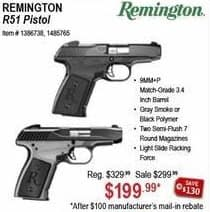 Sportsman's Warehouse Black Friday: Remington Satin Black or Anodized Gray Oxide R51 Pistol for $199.99 after $100 rebate