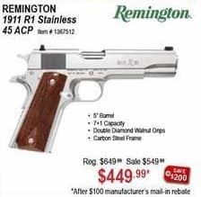 Sportsman's Warehouse Black Friday: Remington 1911 R1 Stainless 45 ACP for $449.99 after $100 rebate