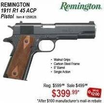 Sportsman's Warehouse Black Friday: Remington 1911 R1 45 ACP Pistol for $399.99 after $100 rebate