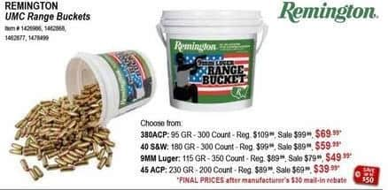 Sportsman's Warehouse Black Friday: Remington UMC 40 S&W 180GR 300ct. Range Bucket for $59.99 after $30 rebate