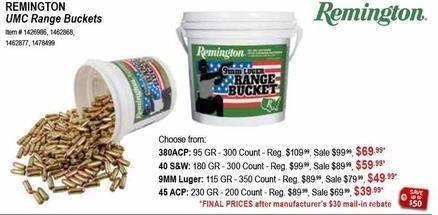 Sportsman's Warehouse Black Friday: Remington UMC 9MM Luger 115GR 350ct. Range Bucket for $49.99 after $30 rebate