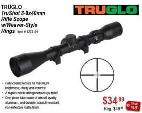 Sportsman's Warehouse Black Friday: TRUGLO TruShot 3-9x40mm Rifle Scope w/ Weaver-Style Rings for $34.99
