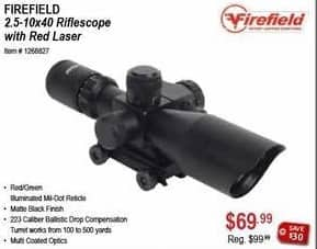 Sportsman's Warehouse Black Friday: Firefield 2.5-10x40 Riflescope w/Red Laser for $69.99