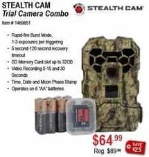 Sportsman's Warehouse Black Friday: Stealth Cam Trial Camera Combo for $64.99